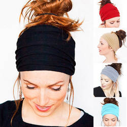Женская Мода одноцветное Цвет стрейч повязки основные Широкий повязка унисекс