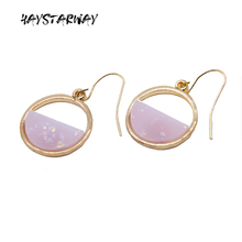 HayStarWay Geometric Round Drop Simple Earrings High Quality Gift Fashion Jewelry For Woman Best Friend simple fashion rose yellow flower shape cute earrings women big drop earrings jewelry wedding gift for best friend drop shipping