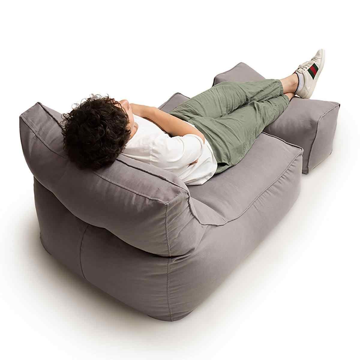 Preguiçoso Cadeira do Saco de Feijão Sofá de Linho de Algodão Cobrir Nenhum Sopro de Enchimento em Cores Sólidas Assento Pufe Espreguiçadeira Sofá para Casa escritório Do Partido Jogo