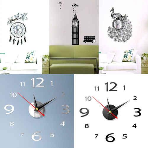 3D DIY Jam Dinding Rumah Modern Dekorasi Kristal Cermin Stiker Dekorasi Rumah Ruang Tamu Kuarsa Jarum