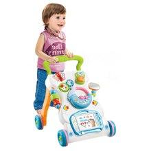 Многофункциональные детские ходунки, игрушки для малышей, на колесиках, сидящие на стойке, ABS музыкальные ходунки с регулируемой высотой для малышей