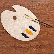 Гладкий поднос палитра товары для рукоделия акварель овальная картина маслом плоская художница с отверстием для большого пальца деревянный акрил#0103