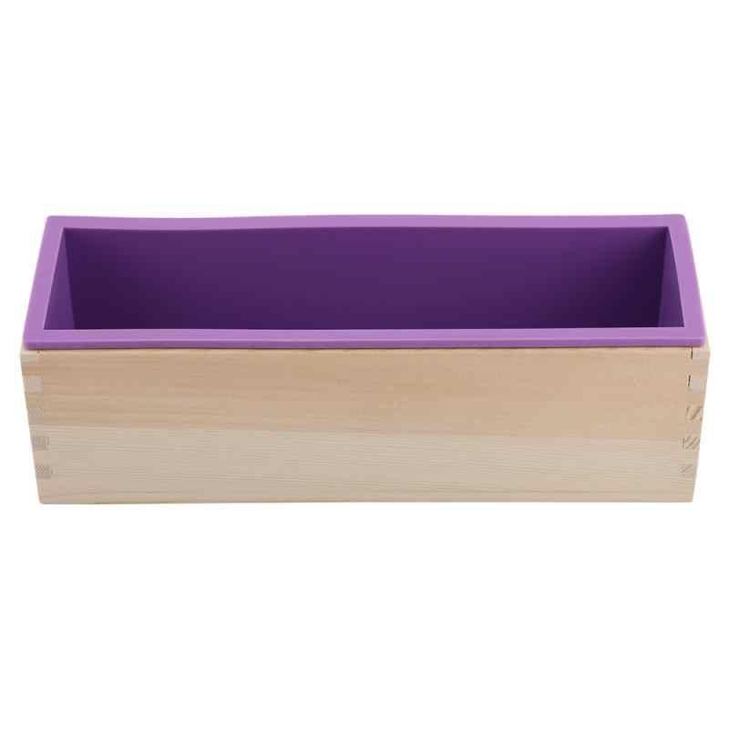 Zerodis silicone sabão molde retangular 1200g sabão de madeira que faz a caixa com forro flexível para diy artesanal molde de pão sabão molde