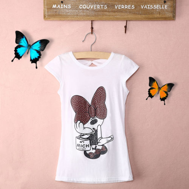 2018 Fashion New Baby Girls Cotton Summer Tops White Sequined Print Casual T-Shirts 3-8Y