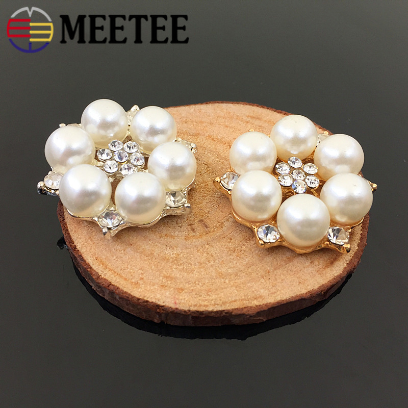 Arts,crafts & Sewing Buttons Meetee 10/20pcs 28mm Pearl Flower Buttons Diy Alloy Jewelry Accessories Clothing Bag Decor Material Drill Flower Buckle Cn007