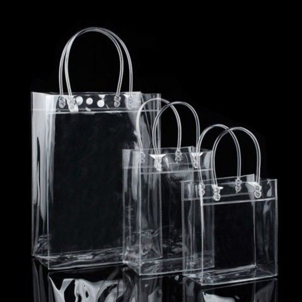 1Pc  Transparent Shopping Bag PVC Clear Tote Bag Women Handbag Durable Stadium Approved  Grocery Bag Eco Shopping Pouch