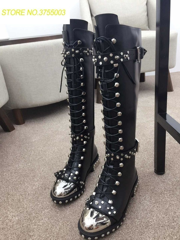 Super Hot Silver Studs Cover Women Lace Up Motorcycle Boots Round Toe Ladies Knee High Boots Leather Buckles Embroidery BootsSuper Hot Silver Studs Cover Women Lace Up Motorcycle Boots Round Toe Ladies Knee High Boots Leather Buckles Embroidery Boots