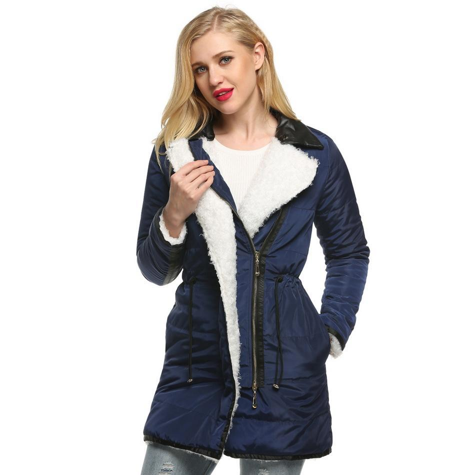 Zipper Manteau Green Blue D'hiver En Longueur Avant Femmes navy Casual Hanche Épaississent Moyen yellow Mode Long Plein Cuir Finejo De Cou Army Patchwork Air qzOwgRwx