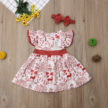 6M-3Y Christmas Deer Print Baby Girl Dress Fashion Kids Baby Bowknot Pageant First Birthday Girl Party Formal Gown Baby Dress