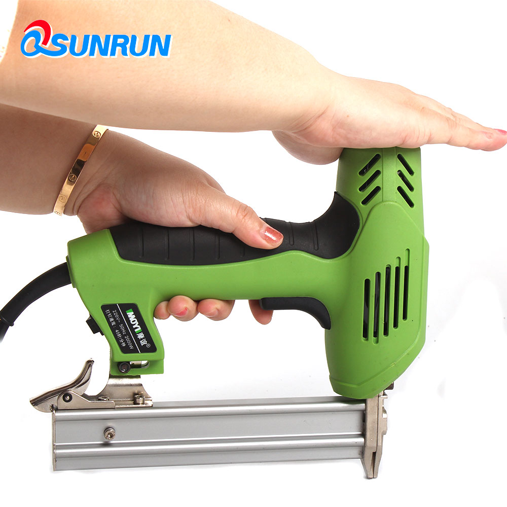 QSUNRUN  220V 1800W F30 Nail Electric Straight Nailer Nailing Device Woodworking Portable