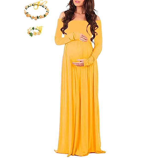 Us 24 8 Fashion Pregnant Long Dress Maternity Wedding Party Sexy Maxi Dress Gown Fancy Shooting Photo Shoulderless Pregnant Dress Plus In Dresses