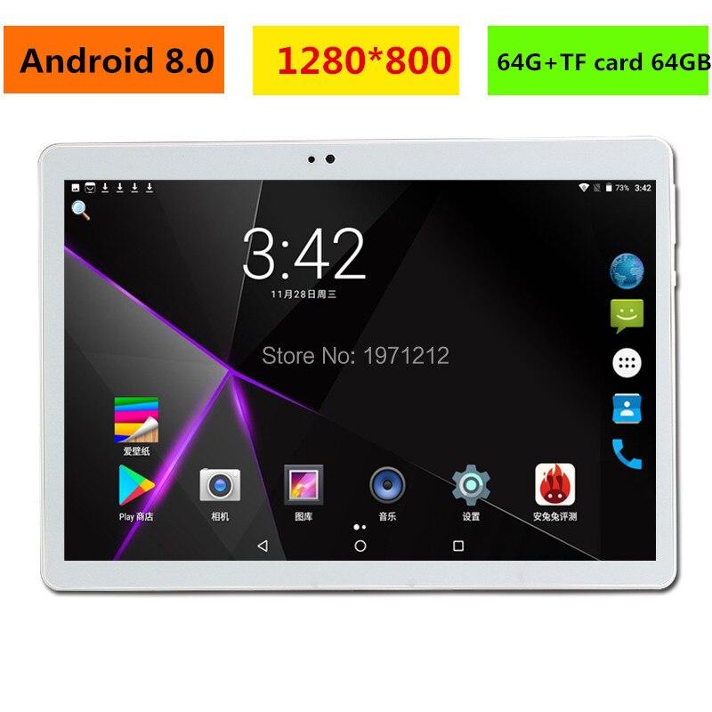 2019 nouveau 10 pouces tablette PC Octa Core 4 GB RAM 128 GB ROM Android 8.0 WiFi Bluetooth double cartes SIM 3G 4G LTE tablettes 10.1 + cadeaux