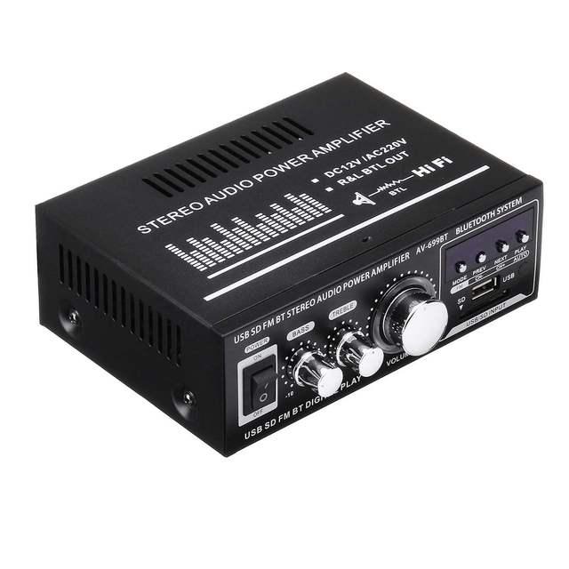 12V/220V 400W 2 CH bluetooth HiFi Stereo Amplifier USB SD FM Radio Power Stereo Car Amplifier Audio Home Amplifier