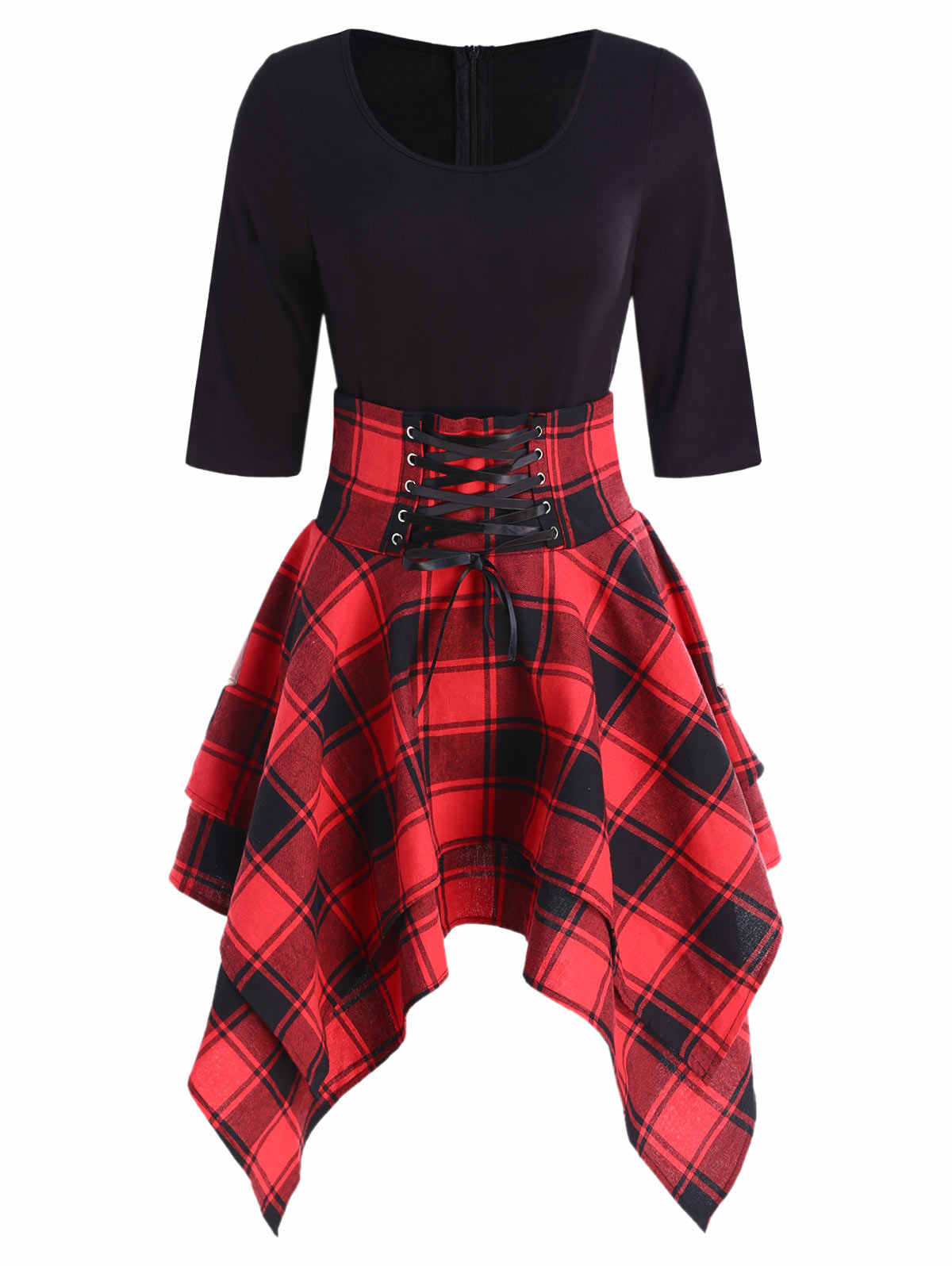 5ceeade6a5 Kenancy Lace Up Tartan Asymmetrical Dress Half Sleeves O-Neck Check Plaid  Women Vintage Dress