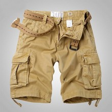 4 Colour Streetwear Military Cargo Multi Pocket Design Plain Shorts Men 2019 Fashion Vintage Loose B