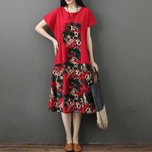 2019 Summer Women Dresses Elegant Short Sleeve Cotton Linen Casual Dress Vintage Floral Print  Party Vestidos