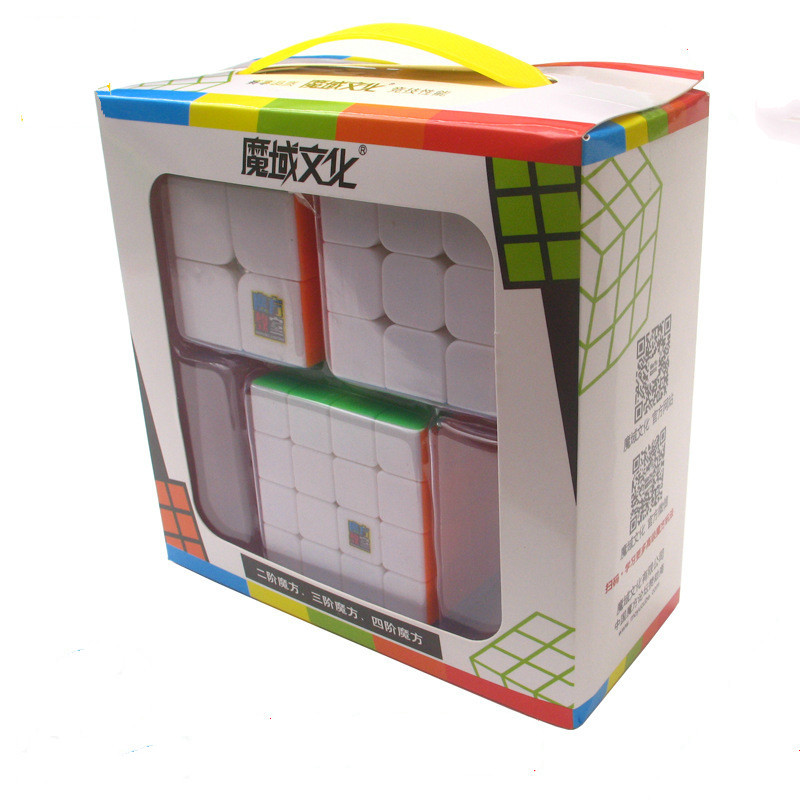 Moyu Cube 3 Pieces Set 2x2x2 3x3x3 4x4x4 Magic Neo Cube Gift Set Stickerless Toys For Children Mf2s Mf3s Mf4s Cube Toys
