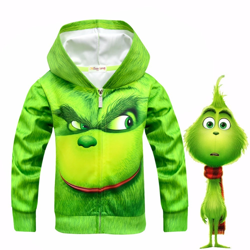 The GRINCH FULL FACE 3D Printed Hoodie Merry Grinch Cosplay Costume for kids Halloween Christmas Girls Boys Sweatshirt