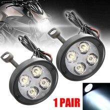 1Pair 4LED 3000LM Universal Motorcycle Motorbike LED Headlight Driving Spotlight Fog Light Lamp Rearview Mirror