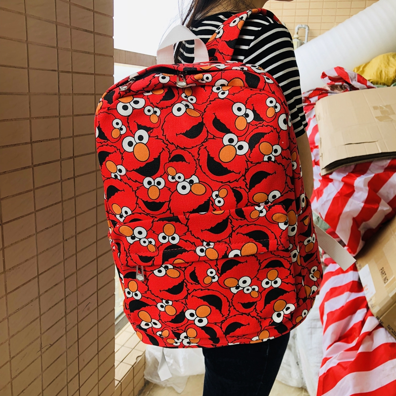 IVYYE Sesame Street Elmo Canvas Backpacks Rucksacks Cartoon School Backpack Casual Student Bags Travel Knapsack Unisex New