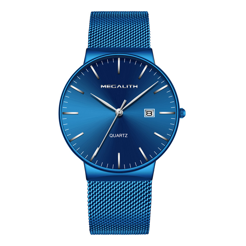 MEGALITH Men Watches Top Luxury Ultra Thin Date Clock Male Blue Steel Mesh Strap Business Sports Quartz Wrist Watches Male ClockMEGALITH Men Watches Top Luxury Ultra Thin Date Clock Male Blue Steel Mesh Strap Business Sports Quartz Wrist Watches Male Clock