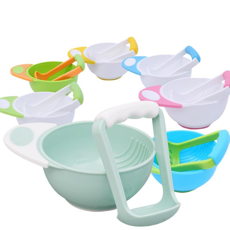 Baby Food Mills And Container Bowl Set Manual Grinding Dishes Infant Food Maker Tool Feeding Bowl Baby Fruit Food Containers