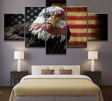New 5 Piece HD Print American Eagle Flag Poster Painting Canvas Wall Art Picture Home Decoration Living Room