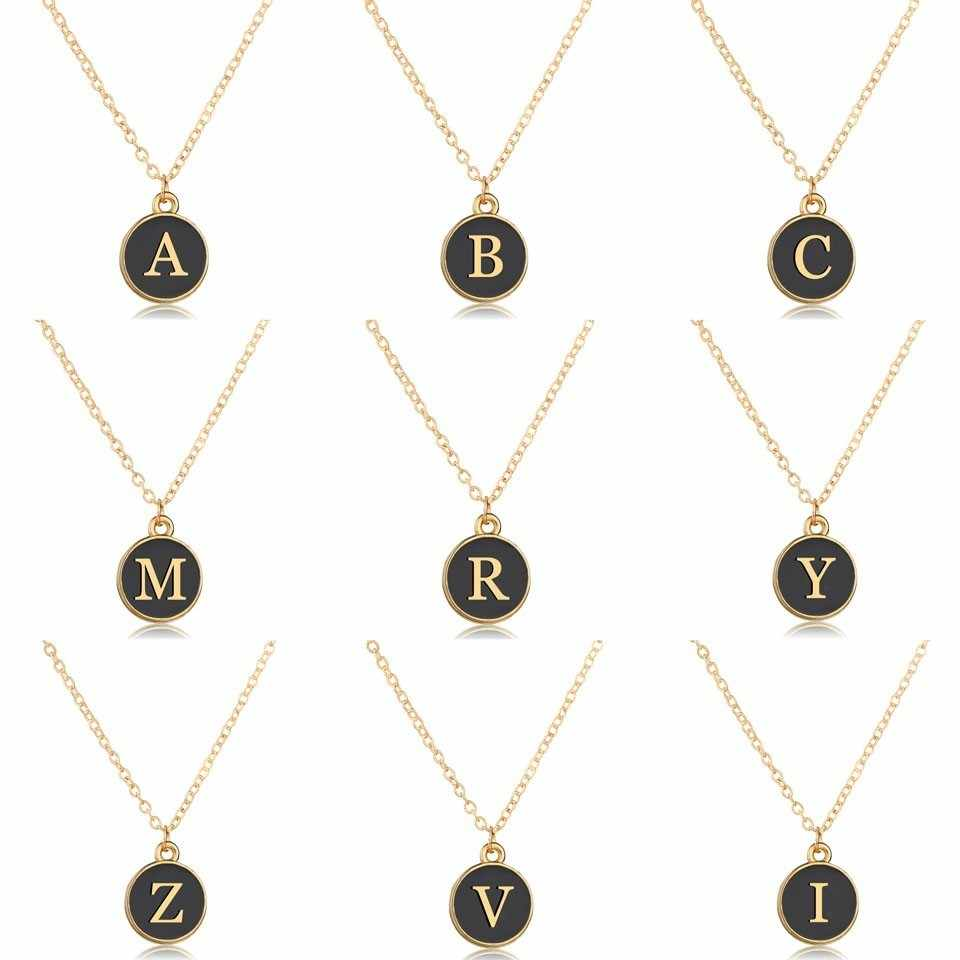 Wholesale Gold Letters Necklace Fashion Black Round Pendant Lettering A-Z Private Custom Design Necklaces&Pendants Gifts