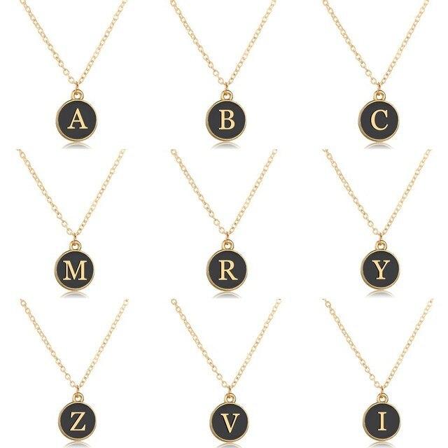الجملة الذهب خطابات قلادة المختنق الأزياء الأسود جولة قلادة حروف A-Z العرف الخاص تصميم قلائد هدايا