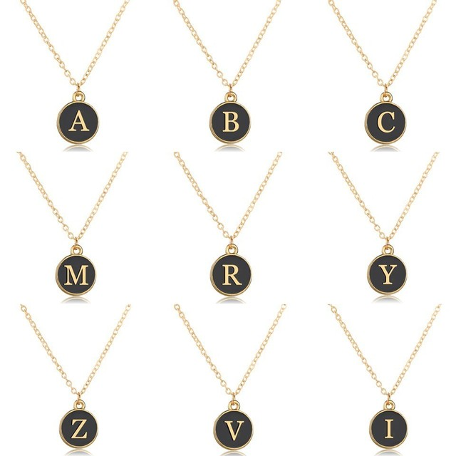 Wholesale Gold Letters Necklace Choker Fashion Black Round Pendant Lettering A-Z Private Custom Design Necklaces&Pendants Gifts