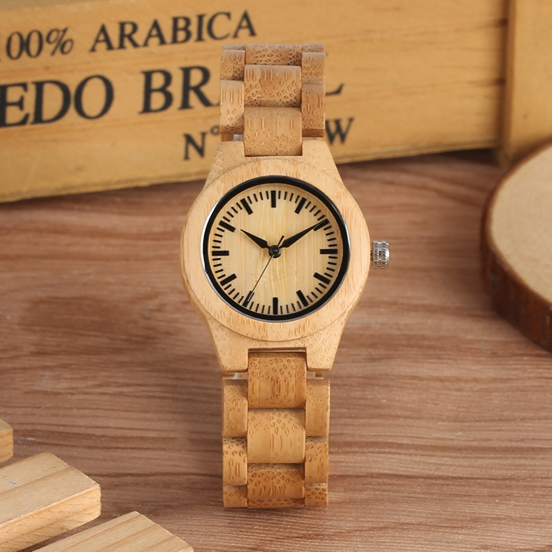 Minimalist Pure Dial Wood Watch for Women with Adjustable Small Striped Full Wooden Band Quartz Wrist Watches horloges vrouwen