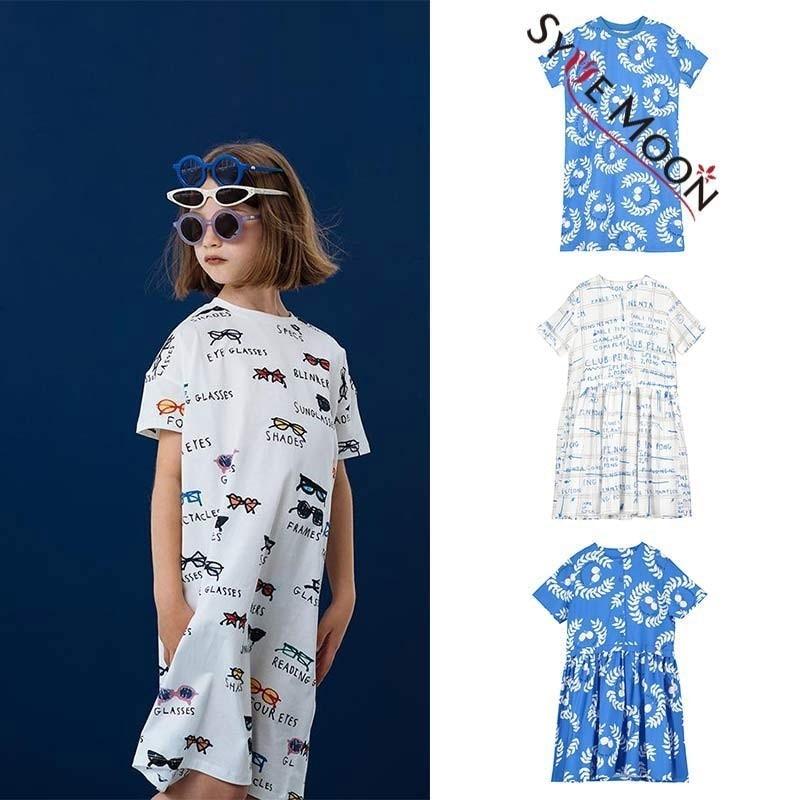 Kids Dresses 2019 Be Loves Summer Girls Glasses leaves Print T Shirts Dress Baby Children Cotton