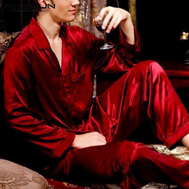 INCERUN Suit Sleepwear Pants Pajamas-Set Nightgown Satin Silk Solid 3XL Soft Comfy 2pieces