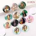 11 PCS Artist Picture Glass Cabochon 25mm Round Photo Cameo Cabochon Setting Supplies for Jewelry Accessories Wholesale