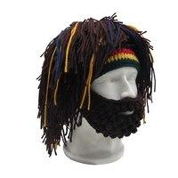 Парик борода вязаная шапка шапочка в растафарианском стиле пещерный бандана ручной работы для женщин вязаные шапки Gorro зима мужчин Хэллоуи...