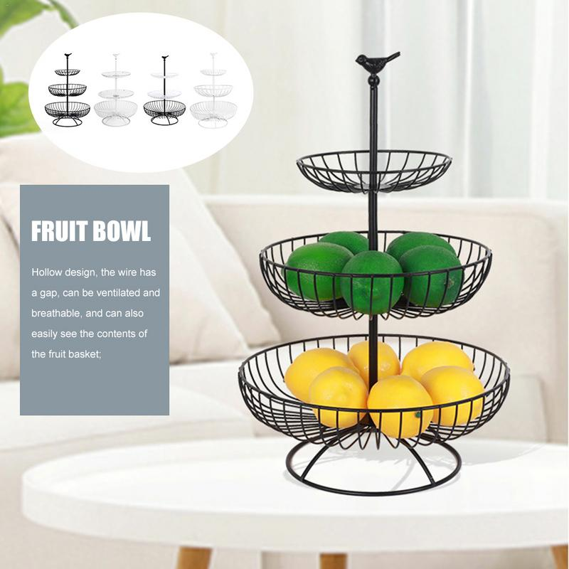 Us 20 79 35 Off Household 3 Tier Storage Basket Kitchen Metal Fruit European Iron Hollow Black Vintage Style Tray Stand Fr In