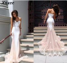 Xnxee Beautiful Chapel Train Dress Elegant Sleeveless Lace Floor-length Mermaid Formal Party Evening Gowns Hot