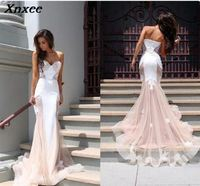 Xnxee Beautiful Chapel Train Dress Elegant Sleeveless Lace Floor length Mermaid Formal Party Evening Gowns Hot Xnxee