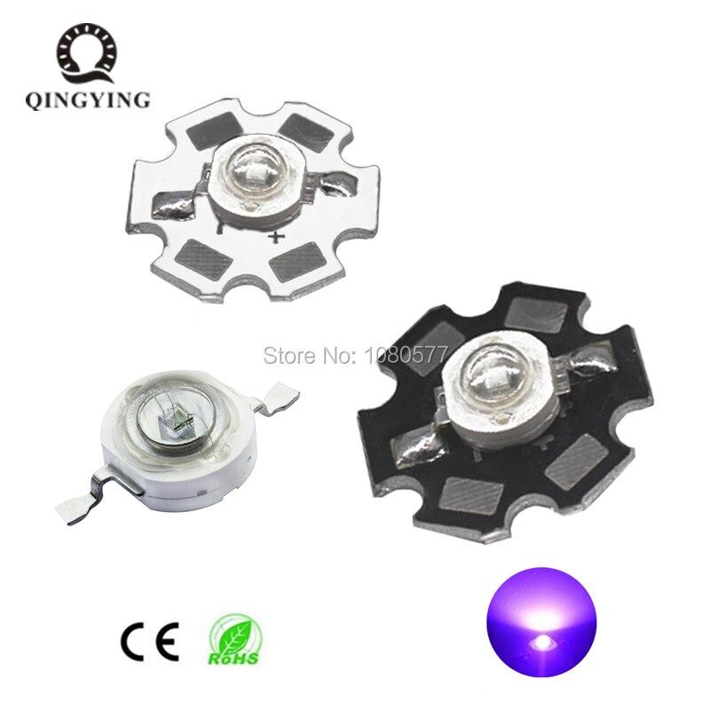 3W UV High Power LED Chip SMD Light Beads Ultra Violet 365nm 385nm 395nm 400nm 405nm 420nm For SpotLight Downlight Lamp Bulb