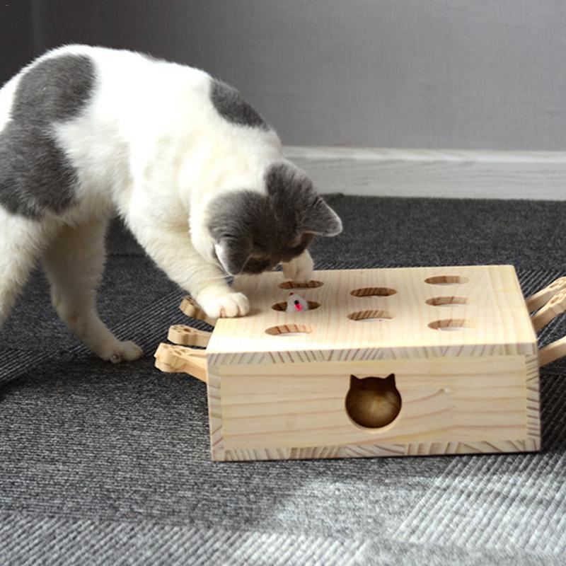 Attraper souris mignon chat jouet souris bois interactif drôle chiot animaux jouets Petshop Pet fournitures chats jeux livraison directe