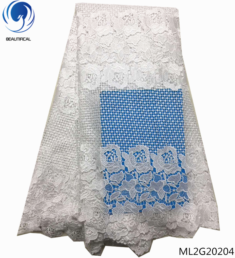 BEAUTIFICAL african cord lace guipure lace fabric white soluble african cord lace fabrics for party wedding 5 yards/lot ML2G202BEAUTIFICAL african cord lace guipure lace fabric white soluble african cord lace fabrics for party wedding 5 yards/lot ML2G202