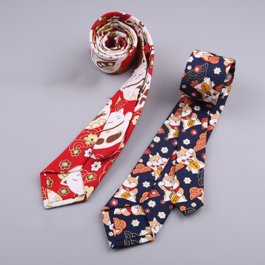 2019 New Lucky Cat Waves Retro Hot Stamping Tie Creative Fun Tide 7CM Tie Female Boys Tie Spot Fashion Personality Trend in Men 39 s Ties amp Handkerchiefs from Apparel Accessories