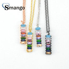 5Pieces,The Rainbow Series Women Fashion Colorful Rectangle Shape CZ Prong Setting Necklace and Connectors,4Colors,Can Wholesale