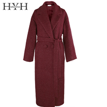 HYH HAOYIHUI Simple Loose Commute Elegant Temperament Style Belt Silhouette Long Coat