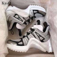 Women Height Increasing Archlight Sneakers Shoes Thick Platform Creepers Female Casual Flats Tenis Feminino