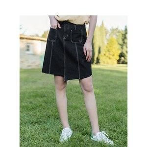 Image 3 - Inman, летняя, новая поставка, с высокой талией, тонкая, Корейская, модная, неравномерная, женская, короткая, джинсовая юбка
