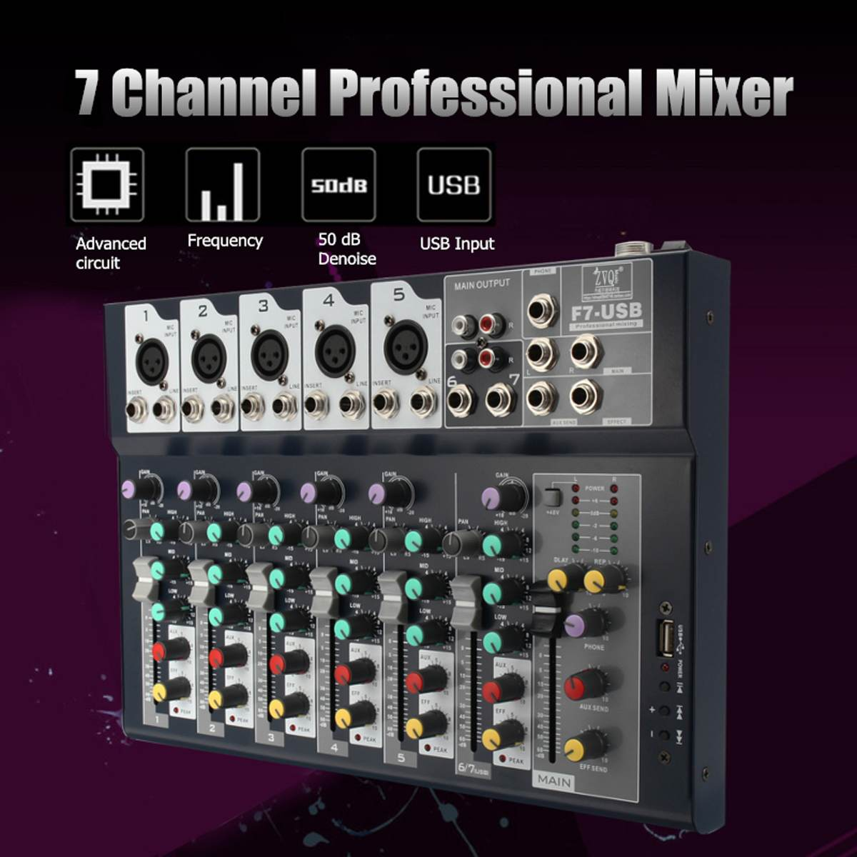 LEORY Mini 7 Channel Professional Stage Live Digital Studio Audio Mixer USB AUX Mixing Console DJ  KTV Show 48V Phantom PowerLEORY Mini 7 Channel Professional Stage Live Digital Studio Audio Mixer USB AUX Mixing Console DJ  KTV Show 48V Phantom Power