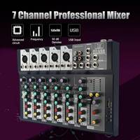 LEORY Mini 7 Channel Professional Stage Live Digital Studio Audio Mixer USB AUX Mixing Console DJ KTV Show 48V Phantom Power