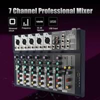 LEORY Mini 7 Channel Professional Stage Live Digital Studio Audio Mixer USB AUX Mixing Console DJ KTV Show 48V Phantom Power
