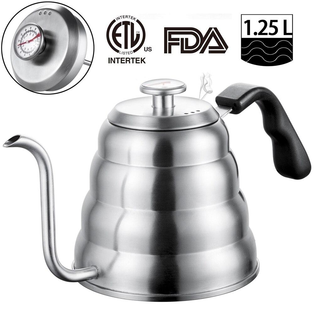 Bouilloire à café en acier inoxydable avec thermomètre, bec mince à col de cygne Pour verser sur la cafetière, fonctionne sur une cuisinière, 40 oz/1,25l